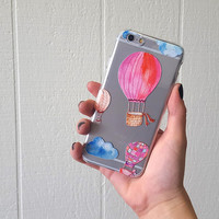 Hot Air Balloon iPhone 6 case, watercolor galaxy s6 case, cute silicone phone case, clear galaxy s5 case, slim iphone 5 case, transparent