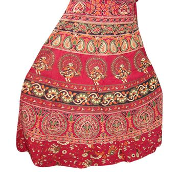 Women's Boho Wrap Around Skirt Tribal Chic Red Printed Beach Wear Wrap Dress Skirt…: Amazon.ca: Clothing & Accessories