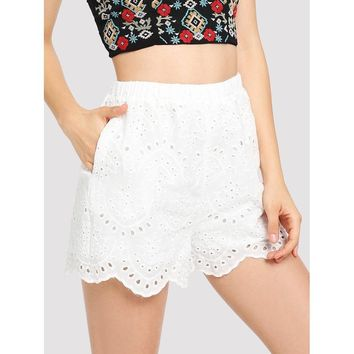 Embroidered Scallop Edge Shorts