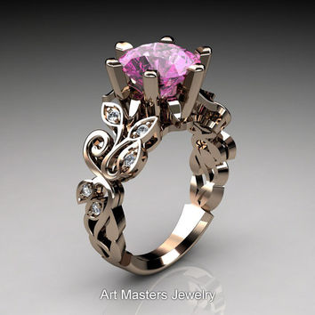 Nature Inspired 14K Rose Gold 3.0 Ct Light Pink Sapphire Diamond Leaf and Vine Crown Solitaire Ring RD101-14KRGDLPS