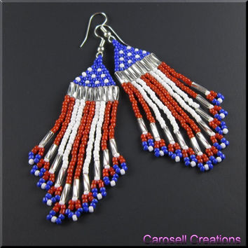 US American Flag Beadwork Dangle Fringe Seed Bead Earrings