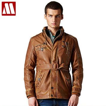 New men's leather jacket, winter leather jackets, men long trench coat, winter fur lined coat outerwear