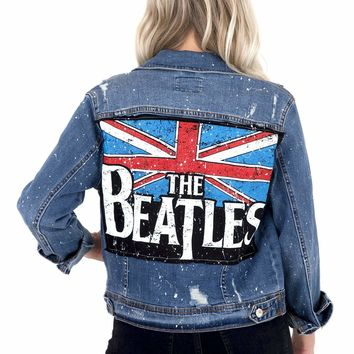 Women's Vintage Denim Jacket with Rock Band Appliqué on Back