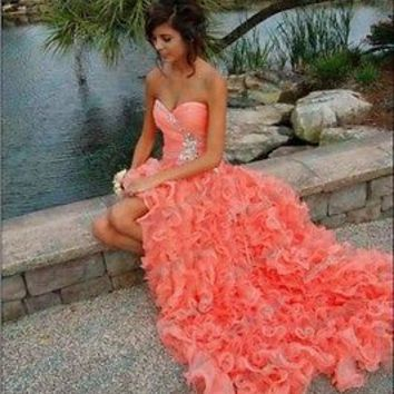 Sexy A line Beading Sweetheart Ruffles Long Coral Organza Party Prom Dresses