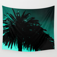 Palm Trees Silhouette - Teal Sunset Wall Tapestry by Moonshine Paradise