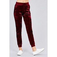 Dark Ruby Ice Velvet Joggers