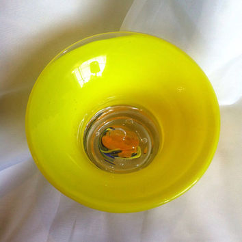 Glass Art Paperweight Bowl - Hand Blown