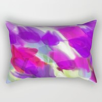 Meadow Flowers Abstract 2 Rectangular Pillow by Jen Warmuth Art And Design
