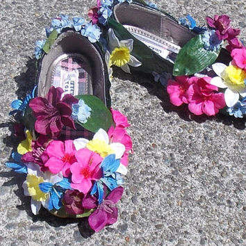 Girl's Fairy Shoes Size 12, Flower Decorated Shoes, Flower Girl Slippers, Fairy Footwear, Recycled Childrens Dress Up