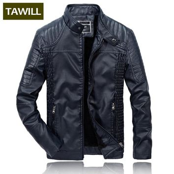 TAWILL Winter Bomber Jackets Male Leather Jacket Fashion Casual Overcoat Military Jacket  Men's Clothing 2018 New MWZ1809