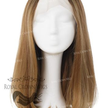 "17 inch Heat Safe Synthetic Lace Front ""Victoria"" Bob with Straight Texture in Rooted Golden Brown"
