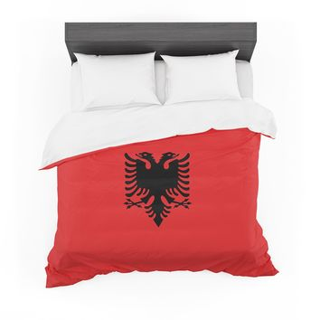 "Bruce Stanfield ""Flag Of Albania"" Black Red Digital Featherweight Duvet Cover"