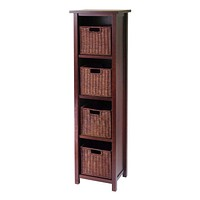 Milan 5pc Storage Shelf/Cabinet with 4 Small Baskets by Winsome Woods