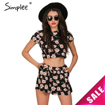 Simplee Apparel Boho floral print women jumpsuit romper Summer 2016 casual short playsuit Girls elegant two piece sexy ovaralls