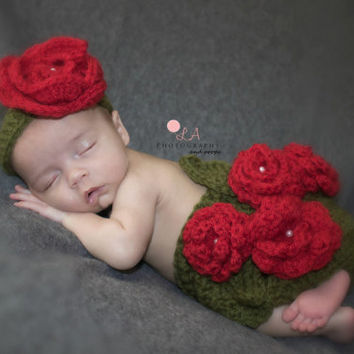 Baby Bed of Roses Photo Prop Outfit Set. Diaper Cover & Headband Newborn Baby Girl Prop.