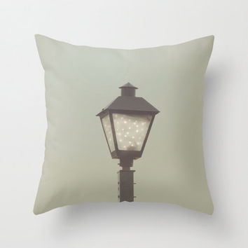Bokeh FireFly Lamp Post Home Decor Throw Pillow Cover Pale Aqua Decor Decorative Throw Pillow Blue Green Accent Pillow, Surreal Photography