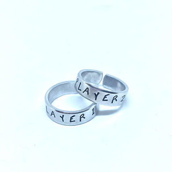 Player 1 Player 2 Ring Set, Video Gamer Rings, Gift For Bestfriend, Matching Ring set