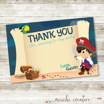 "Pirate Birthday Party DIY Printable  4"" x 6"" Thank You Card"