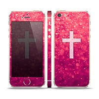 The Vector White Cross v2 over Unfocused Pink Glimmer Skin Set for the Apple iPhone 5s