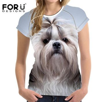 FORUDESIGNS Kawaii 3D Shih Tzu Dogs Women T Shirt Tees Woman Tops O Neck Elastic Ladies Basic Shirt For Girl Female T-shirt 2018