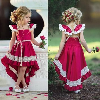 High Low Dress  Little Girls Summer Dresses - Red