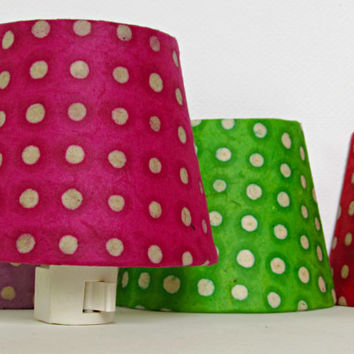Hot Pink Night Light - Pink and White Polka Dot Nightlight - Teen Girl Room Decor Accent Lighting - Pink Nursery Decor