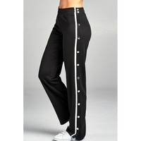 Snap-On Track Pants (Black/ Off-White)