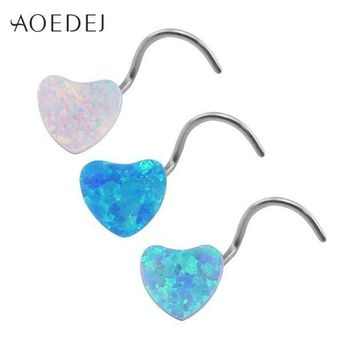 ac PEAPO2Q AOEDEJ 3 Colors Heart Nose Stud Piercing Stainless Steel Blue Natural Opal Stone Nose Rings And Studs Nose Piercing Jewelry