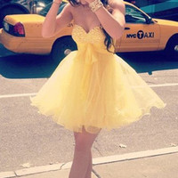 Sweetheart Neck Short Yellow Prom Dress, Homecoming Dress, Graduation Dress