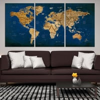 23614 - Large Wall Art Push Pin World Map Canvas Print - Extra Large World Map Push Pin Wall Art Canvas Print - World Map Wall Art Poster Print