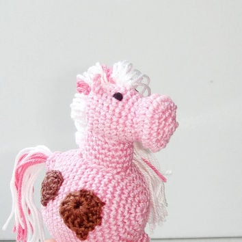 Listing for Melissa -  Miss Pink Pony - My little pony - Horse pink with brown heart - Crochet rattle - First toy for your baby
