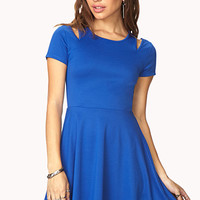 FOREVER 21 Cool-Girl Fit & Flare Dress Royal