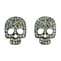 Iridescent Bling Skull Earrings