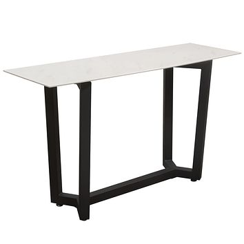 Caplan Rectangular Console Table with Ceramic Marble Glass Top and Black Powder Coat Base