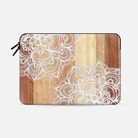 "White doodles on blonde wood - neutral / nude colors Macbook Pro 15"" sleeve by Micklyn Le Feuvre 