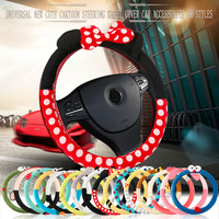 Car Styling Bow Car Steering Wheel Cover cute Cartoon Universal Interior Accessories Set Women man 16designs car covers hot new