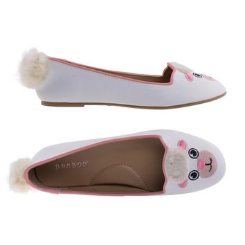 Kiwi74S Sheep By Bamboo Sheep Adorable Round Toe Ballet Flat Loafer w Cute Animal Face, Faux Fur Tail