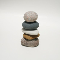 Natural Miniature Lake Michigan Stone Cairn Marker Sculpture #39 - Rock Cairn - Stacked Stones