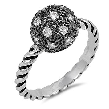 Sterling Silver CZ Simulated Diamond Sphere Ball Ring 10MM