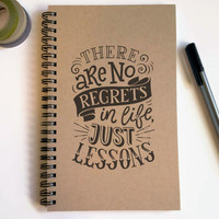 Writing journal, spiral notebook, cute diary, small sketchbook scrapbook memory book 5x8 journal - There are no regrets in life just lessons