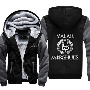Game Of and Thrones Fashion Casual Hoodie VALAR MORGHULIS Mysterious Zipper Thicken Jacket 2017 Spring Winter Fleece Sweatshirts