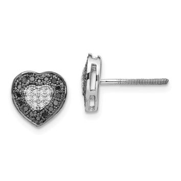 Sterling Silver Black And White Diamond Heart Halo Screw Back Earrings