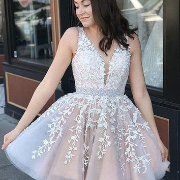 V Neck Lace Champagne Prom Dresses, Champagne Homecoming Dresses, Short Lace Dresses