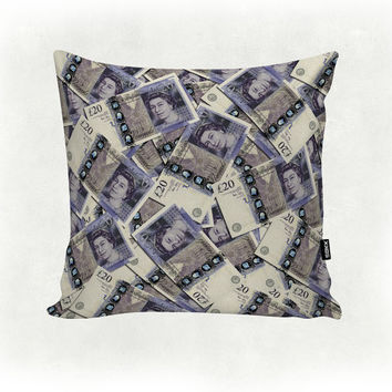20 Pound Sterling - Queen Elizabeth - Money - Printed Home Decor Scatter Cushion