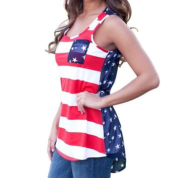 Summer American USA Flag Print Sleeveless Tops Stripes Tank Top for Women Blouse Vest Shirts