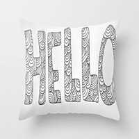 Wavy Hello Throw Pillow by Maggie Dylan | Society6