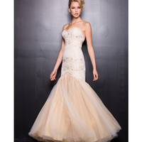 Ivory & Gold Strapless Mermaid Gown