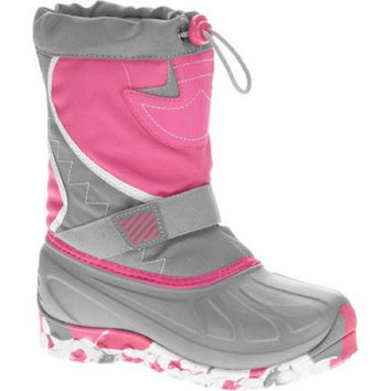 Ozark Trail Girls' Temp Rated Winter Boot, Grey/Pink, 6