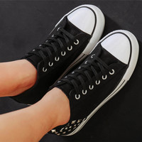 Womens Causal Comfortable Studded Canvas Shoes
