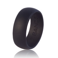Black Workproof Silicone Rubber Wedding Ring (With Pouch)